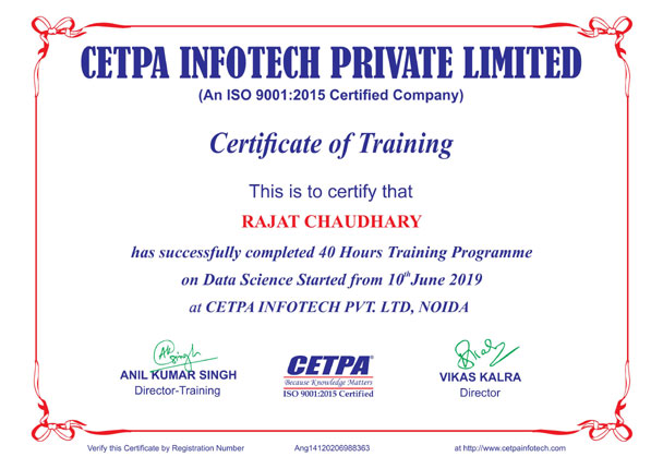 Rajat Chaudhary certificate